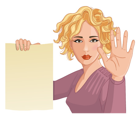 belay: Vector image of a young woman making stop gesture and keeping a paper in other hand Illustration