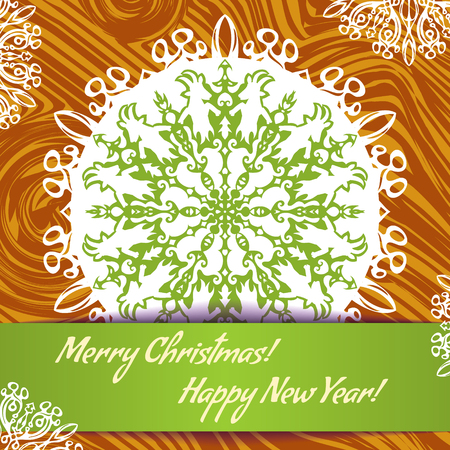 he goat: Vector background with snowflake with goat, symbol of 2015 new year, EPS10