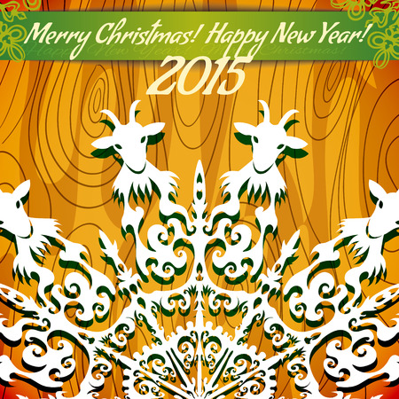 he goat: Vector background with snowflake with goat, symbol of 2015 new year
