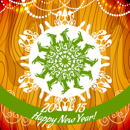 he goat: background with snowflake with goat, symbol of 2015 new year
