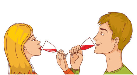 brotherhood: Man and woman drinking wine brotherhood, eps10 Illustration