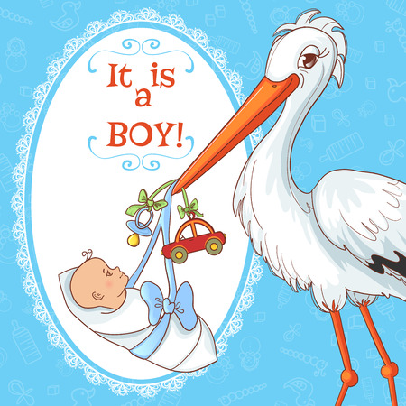 nestling: Baby greetings card with stork and pacifier for boy, eps10