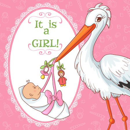Baby greetings card with stork and pacifier for girl, eps10