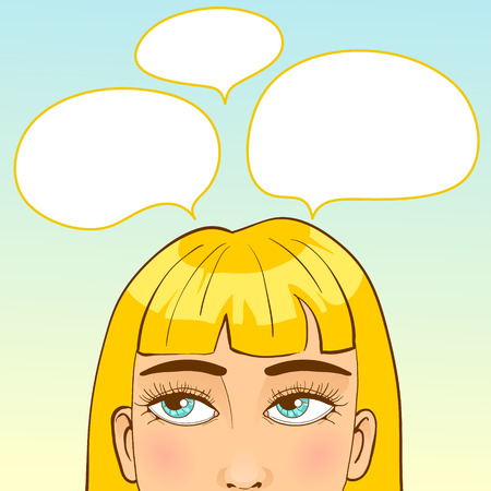 hesitation: Girl with speech bubbles around head, conceptual image, lot of ideas, eps10