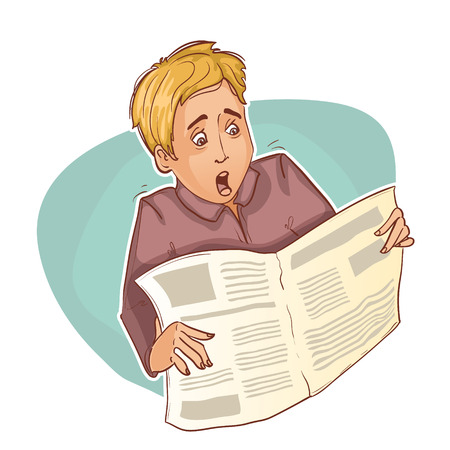 Young man is shocked reading newspaper, eps10 Vector