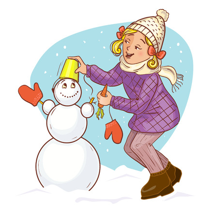 Little cartoon girl makes snow man Vector