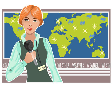 talk show: Pretty young woman reports about weather