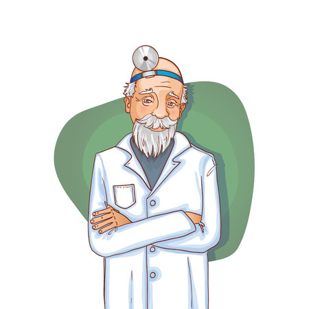 ear nose throat: Old doctor with stethoscope, eps10