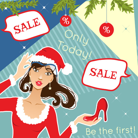 Young stylish woman with shoe for Christmas discount advertisement, eps10 Vector