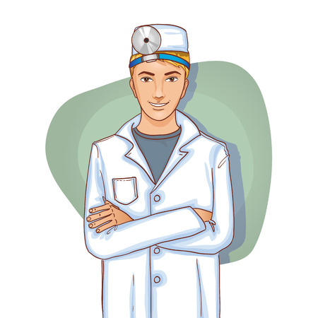 otolaryngologist: Young doctor with stethoscope, eps10