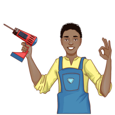 Young handsome African American man with drill, isolated, eps10 Vector
