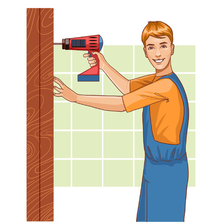 working man: Working man with drill at home, eps10 Illustration