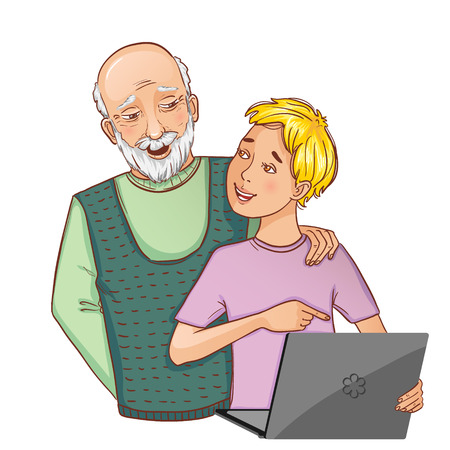 grandsons: Granddad and grandson working on laptop, eps10