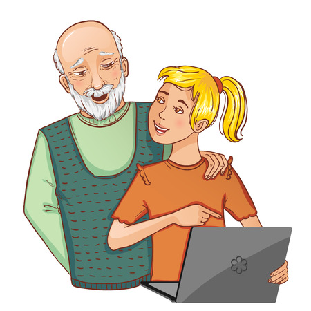 Granddad and granddaughter working on laptop, eps10 Vector