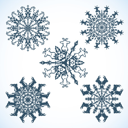 he goat: Collection of Snowflakes with goat, the symbol of 2015 new year
