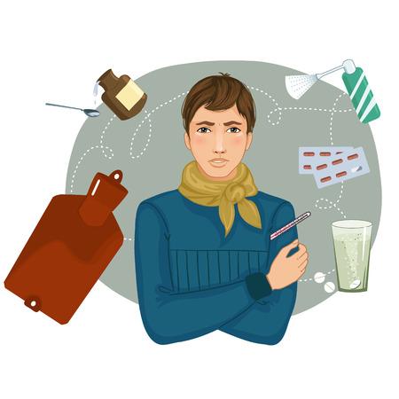 Zieke jonge man klachten over kou, eps10