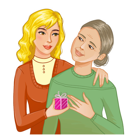 Girl makes a present to grandma or mother, eps10 Vector