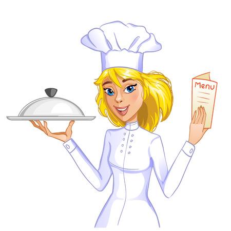 트레이 메뉴 카드, EPS10 귀여운 요리사 소녀 일러스트
