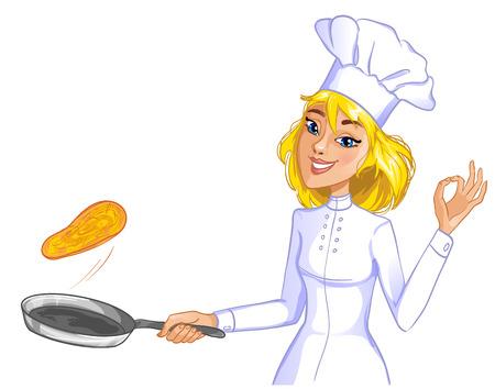 かわいいコック女の子フライパン、eps10 中のパンケーキを投げる