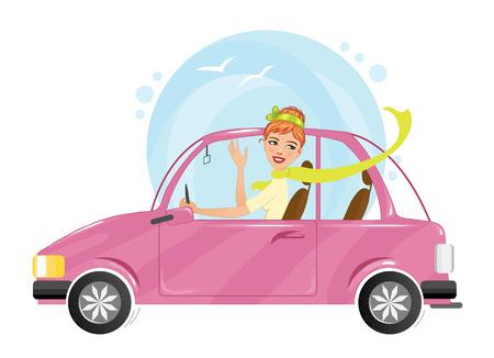 Cartoon schattig meisje in het roze auto, eps10