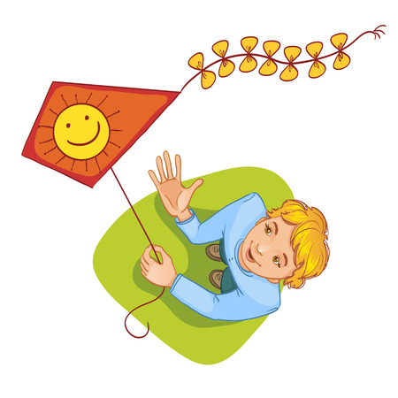 Happy boy playing with kite Vector