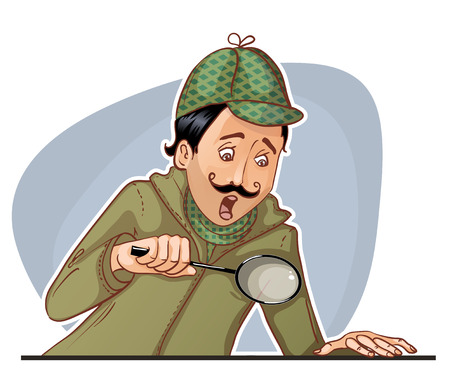 sherlock: Young man with mustache with magnifying glass. Illustration