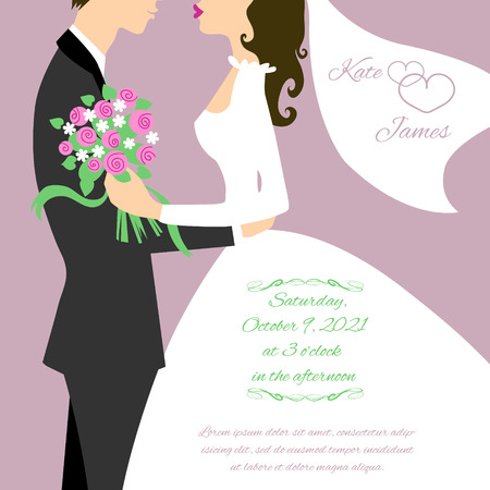 Wedding couple for invitation card Vettoriali
