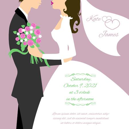 Wedding couple for invitation card Illustration