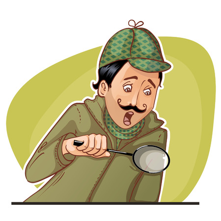 Young man with mustache with magnifying glass, eps10