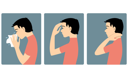 snot: Boy got cold. Three vector image of a boy complaining about headache, sore throat and cold. Each image shows symptoms of a cold