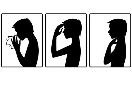 Boy werd koud. Drie vector afbeelding met silhouet van een jongen die klaagt over hoofdpijn, keelpijn en koude. Elk beeld toont symptomen van een verkoudheid