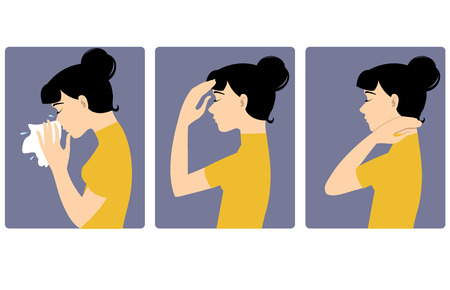 sore throat: Girl got cold. Three vector image of a girl complaining about headache, sore throat and cold. Each image shows symptoms of a cold