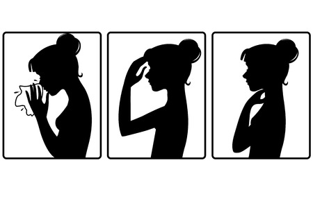 Girl got cold. Three vector image with silhouette of a girl who complains about headache, sore throat and cold. Each image shows symptoms of a cold 일러스트