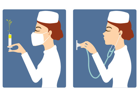 Vector set of two images with young nurse with syringe and stethoscope