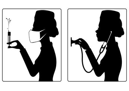 Vector set van twee beelden met zwarte silhouet van jonge verpleegster met spuit en stethoscoop