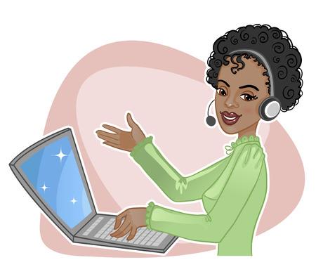 Young African American girl un operador de llamada