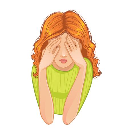 ojos tristes: Vector de imagen de joven mujer triste que se cierra la cara con sus manos, eps10