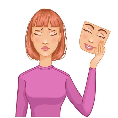 gente triste: Mujer con la cara triste y la m�scara de la cara feliz en su mano, eps10