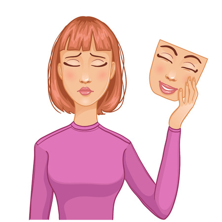 Vrouw met droevig gezicht en het masker van blij gezicht in haar hand, eps10 Stock Illustratie
