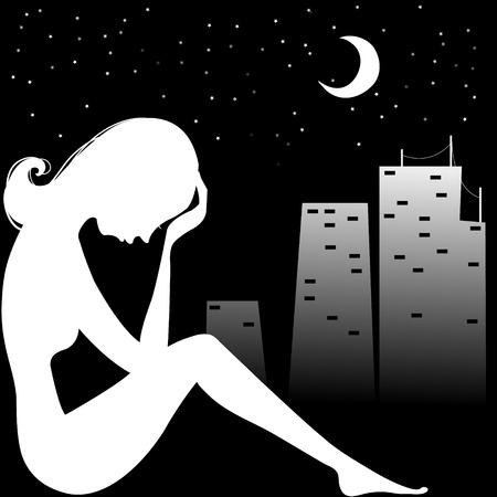 Silhouet van de trieste vrouw in de buurt van venster, eps10