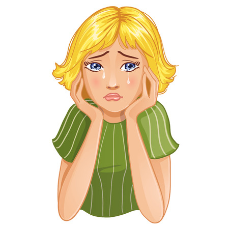 Vector image of young cartoon girl who cries, eps10