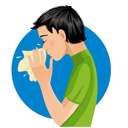 Sneezing man, eps10 Vector