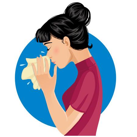 くしゃみをする女性は、eps10