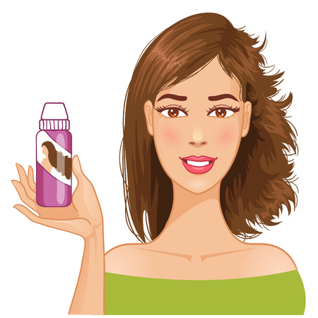 hair do: Young woman shows effect of shampoo before and after washing Illustration
