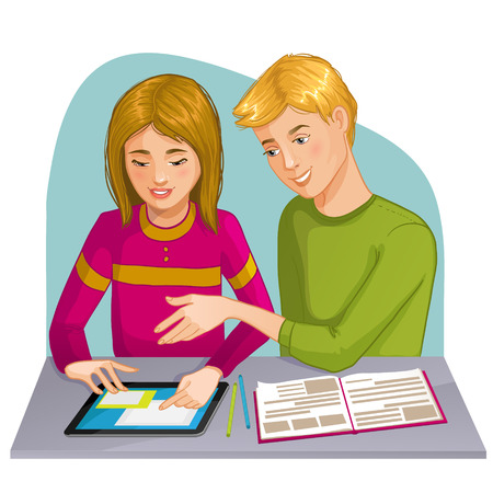 explain: Boy and girl working or playing with digital tablet, eps10 Illustration
