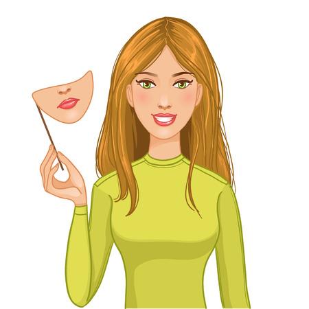 caras tristes: Mujer con la cara feliz y la máscara de la cara triste en su mano, eps10 Vectores