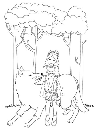 cartoon little red riding hood: Little red riding hood with wolf, outline