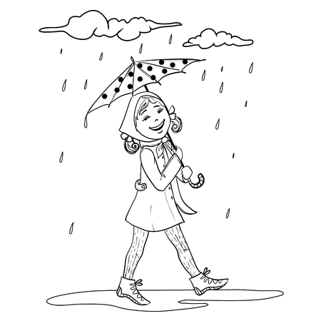 face off: Little cartoon girl with umbrella, outline isolated on white