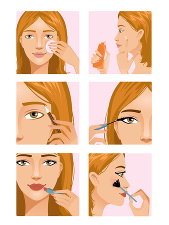 woman face cream: Young girl during makeup ritual Illustration