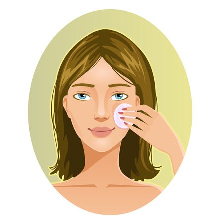 make up face: Young woman cleaning her face with sponge, eps10 Illustration